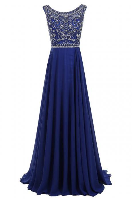 Decent Royal Blue Prom Dress - Bateau Sleeveless Sweep Train Pleated Beading with Rhinestones