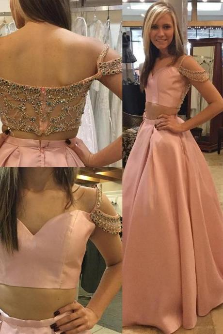 Elegant Two Piece A-Line Sweetheart Off-The-Shoulder Satin Long Prom Dress with Beading