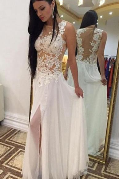 Sexy Ivory Sheath Scoop Sleeveless Appliques Split Front Long Prom Dress