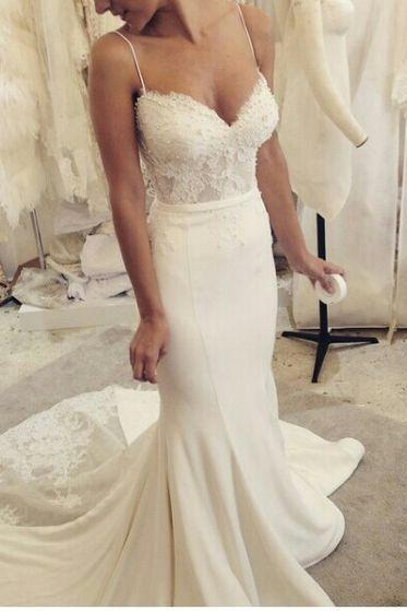 Elegant Mermaid Spaghetti Straps White Sweep Train Prom/Wedding Dress With Lace