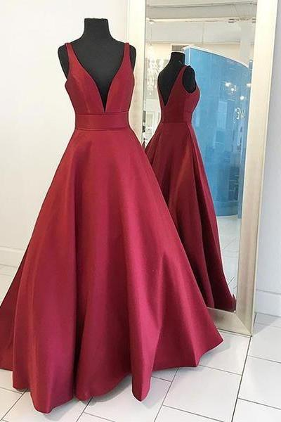 Elegant A-Line Deep V-Neck Sleeveless Burgundy Satin Long Prom/Evening Dress