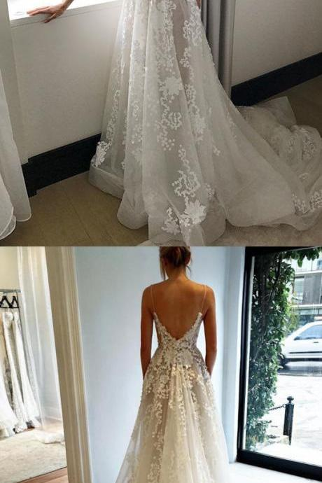 Simple Spaghetti Straps Sweep Train Backless Wedding Dress with Appliques