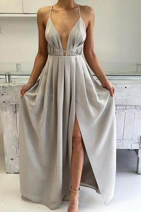 Elegant A-line V-neck Silver Prom Dress Formal Evening Dress
