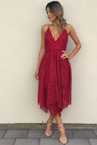 Elegant A-Line Spaghetti Straps V-Neck Red Lace Long Prom/Homecoming Dress