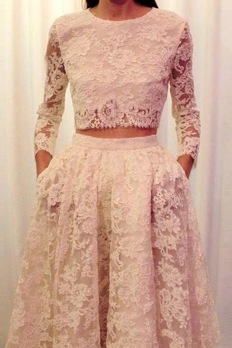 Elegant Two Piece A-Line Jewel Long Sleeves Lace Sweep Train Prom Dress With Pockets
