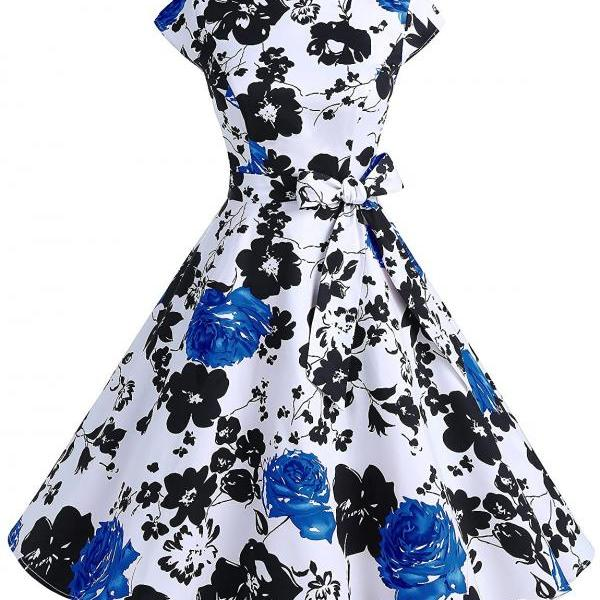 50s Fashion Vintage Style Scoop Neck Floral Print Swing Dress With Bowknot