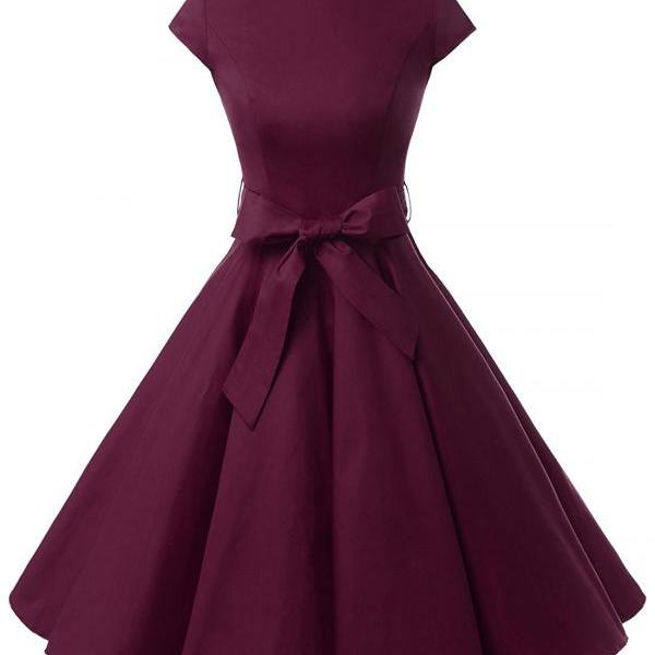 50s Rockabilly Style Cap Sleeves Dark Purple Vintage Dress With Bowknot