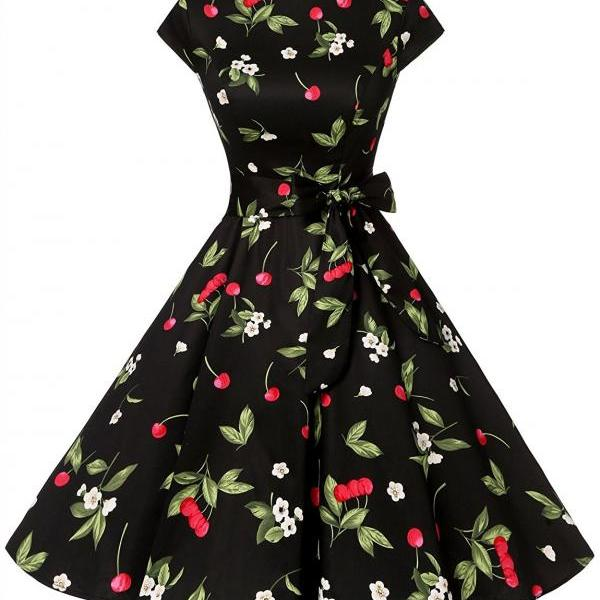 50s Rockabilly Style Scoop Floral Print Ruched Retro Dress With Bowknot