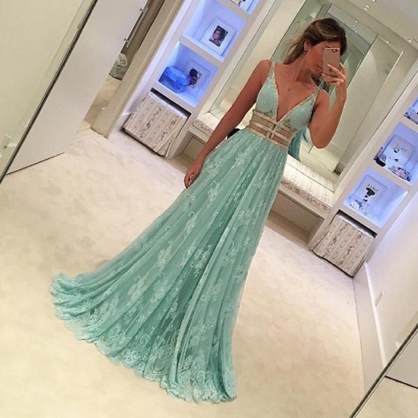 Fabulous Mint Green Prom Dress - Deep V Neck Sleeveless Floor Length Lace with Beading