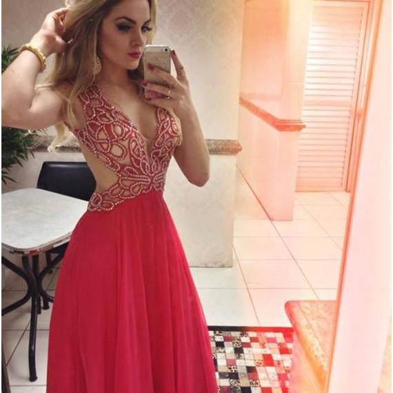 Elegant A-Line Deep V-Neck Backless Sleeveless Red Long Prom Dress with Beading