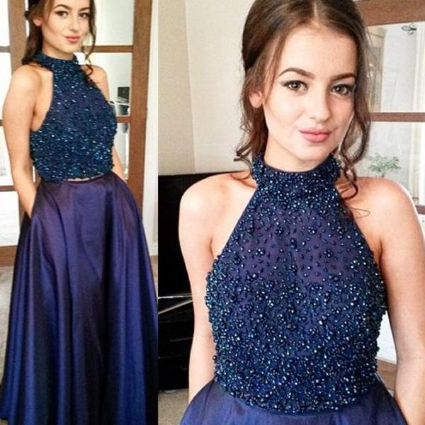 Sexy Halter Floor-Length Two Piece Navy Blue Prom Dress with Beading