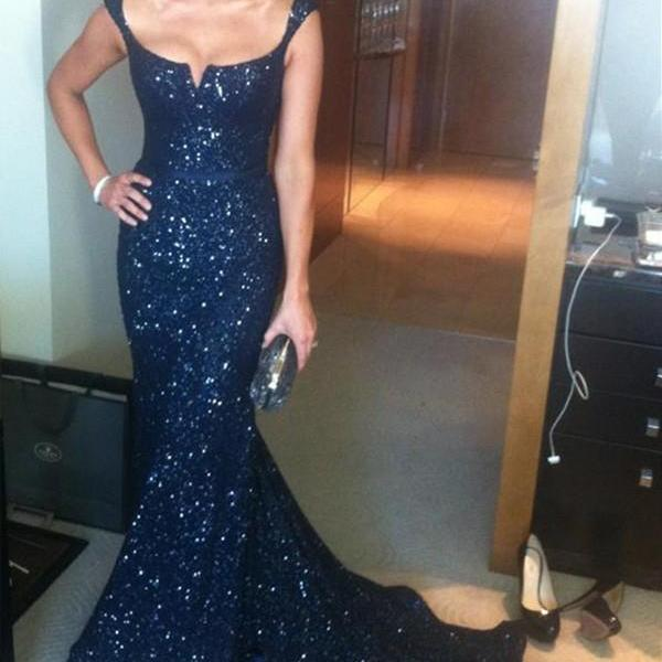 Luxurious Mermaid Square Neck Sleeveless Sequined Sweep Train Prom Dress