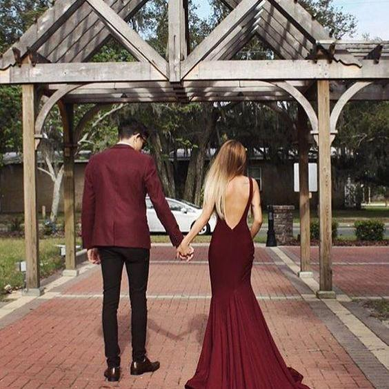 Long Prom Dresses,Maroon Prom Gown ,Elegant Scoop Sweep Train Maroon Backless Prom Dress Evening Gown