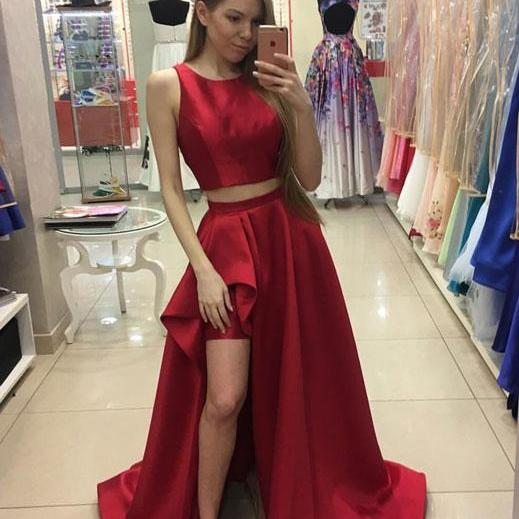 Elegant Two Piece A-Line Jewel Split Front Burgundy Long Prom Dress