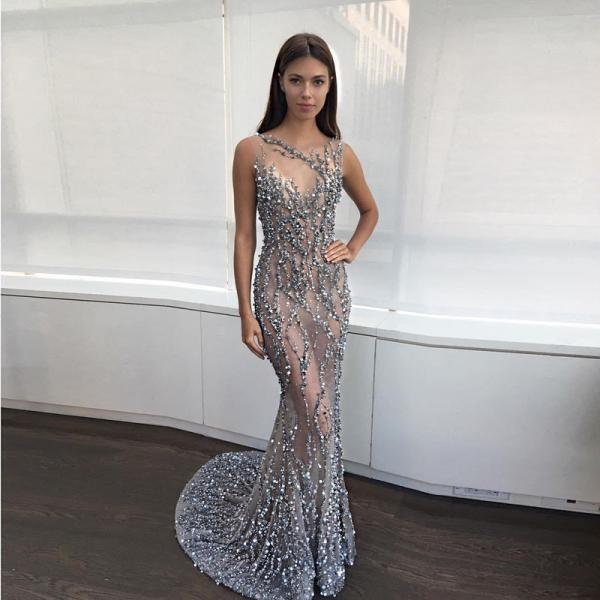 Sexy Mermaid Jewel Backless Illusion Sweep Train Prom Dress With Sequins