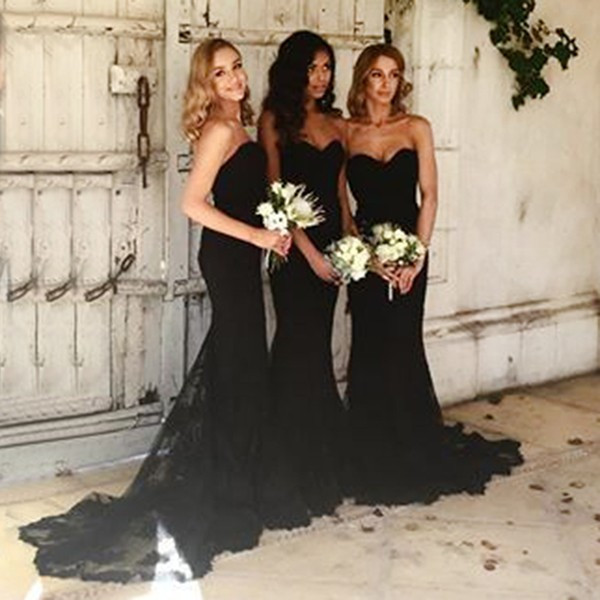 a5cc719be337 Black Sweetheart Neckline Mermaid Bridesmaid Dress With Sweep Train on  Luulla